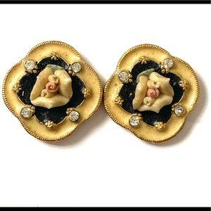 Vintage 1928 porcelain rose stud earrings